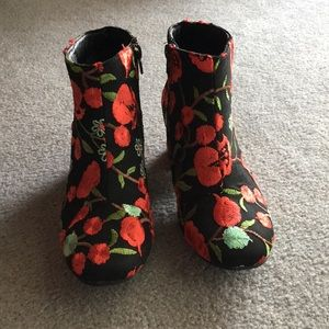 Cute embroidered ankle boots